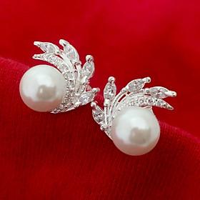 Bông tai nữ Bạc Quang Thản, khuyên tai nụ đeo sát tai gắn đá cobic trắng sáng chất liệu bạc không xi mạ - QTBT85