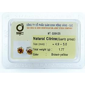 Bông tai nữ đá citrine thạch anh vàng tự nhiên 5mm mài giác tròn 59125