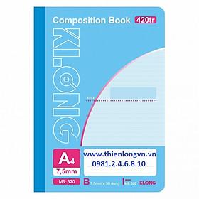 Sổ may dán gáy A4 - 420 trang; Klong 320 xanh dương