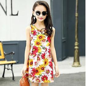 Đầm cotton hoa cỏ mùa xuân tươi tắn cho bé gái 3-10 tuổi phong cách Hàn Quốc xinh xắn – D063
