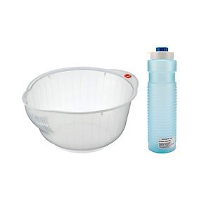 Hình đại diện sản phẩm Combo Bình Trữ Nước Trong Tủ Lạnh Tiện Dụng (1,1L) + Giá Vo Gạo Cao Cấp Kháng Khuẩn (25cm) - Nội Địa Nhật Bản
