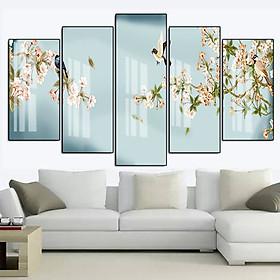 Tranh Canvas Treo Tường Hiện Đại _ Tranh Bộ 5 Chim Và Hoa Mùa Xuân