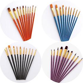 Bộ Cọ Chuyên Dụng Để Tô Vẽ Tranh Sơn Dầu, Màu Nước Acrylic (10 cây- có sẵn)