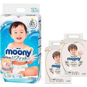 Tã Dán Cao Cấp Moony Nhật Bản L54 [Tặng 8 miếng tã quần Moony Natural cùng size]