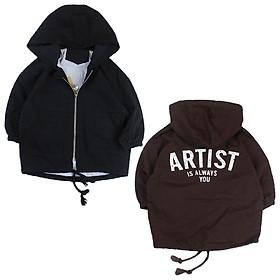 Áo khoác kaki nón in chữ Artist cho bé trai 6-11 tuổi từ 22 đến 32 kg 01759-01760