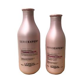 Bộ dầu gội xả chăm sóc giữ màu tóc nhuộm L'oreal Serie Expert Resveratrol Vitamino color radiance 300ml + 200ml [ Mới Chính Hãng]