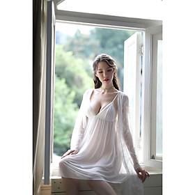 Váy ngủ kèm choàng voan mềm sang trọng