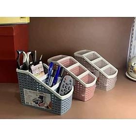Khay nhựa tiện ích đẹp 4 ngăn, lục giác để bàn, đựng đồ, khay nhựa 4 ngăn, đựng bút, đồ dùng đa năng