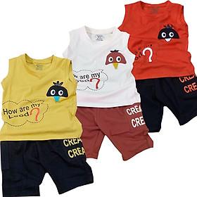 Combo 3 Bộ quần áo bé trai mẫu CREAM, áo sát nách, quần có túi cho bé từ 8kg đến 23kg ( Giao màu ngẫu nhiên )