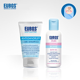 Combo dầu tắm dưỡng ẩm cho bé EUBOS 125ml và dầu gội ngừa gàu cho mẹ EUBOS 150ml