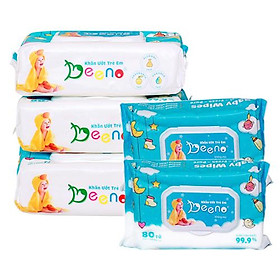Combo 5 gói khăn ướt em bé Beeno kháng khuẩn 80 tờ không mùi