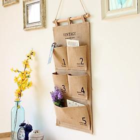 Cotton Hemp Multi-layer hanging digital storage bag daily supplies