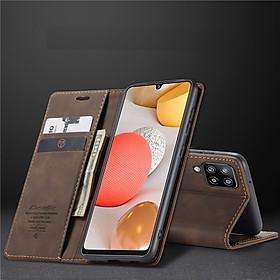 Bao da bò dạng ví dành cho Samsung Galaxy A12 mẫu case hàng nhập khẩu