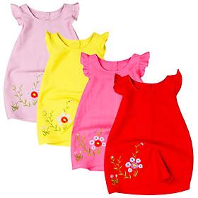 Đầm kate casual cánh tiên thêu hoa cho bé gái từ 1 đến 12 tuổi từ 8 đến 34 kg 06883-06887