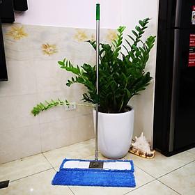 Combo cây lau nhà inox 60 + 1 tấm lau thay thế
