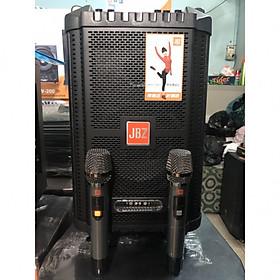 Loa kéo di động JBZ 0806 Thùng gỗ 2 micro không dây-hàng chính hãng