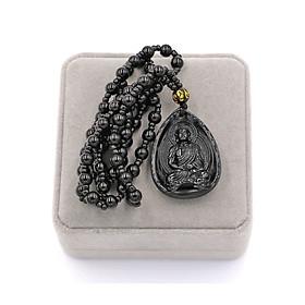 Vòng cổ Dược sư Như lai thạch anh đen 4cm kèm hộp nhung - vị Phật thầy thuốc