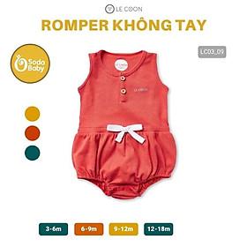 LE COON- Bộ áo liền quần Romper không tay Le coon chất liệu 100 % cotton cho bé trai, bé gái (3 tháng - 18 tháng)