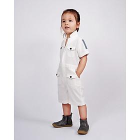 Jumpsuit Trẻ em Unisex_ Yvette LIBBY N'guyen Paris_WRIGHT FLYER_Màu Trắng (Coconut Milk), Vải lanh cao cấp viền cotton lụa Ý