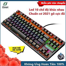 Bàn Phím Cơ Máy Tính XSmart Crack K2 Màu Đen PRO 87 Phím Led RGB 10 Chế Độ Khác Nhau, Dùng Cho Văn Phòng, Chơi Game Tương Thích Với Laptop, Máy Tính, Tivi - Hàng Chính Hãng