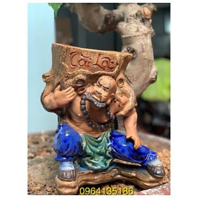 Tượng la hán cõng chậu gốc cây tài lộc h32 gốm sứ Bát Tràng