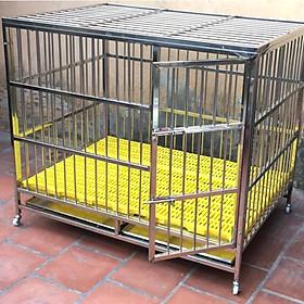 Lồng inox bản lề cao cấp cho chó mèo - Có bánh xe di chuyển