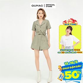 Jumpsuit nữ thiết kế phối nút kết hợp thắt eo GUMAC DB566