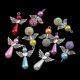 10x Pearl Polymer Clay Angel  Charms Pendant for Jewelry Making Crafts