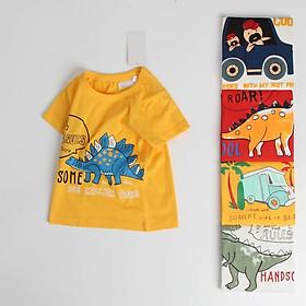 Áo thun bé trai 27, áo bé trai vải cotton 100% in hình khủng long, ô tô, máy bay