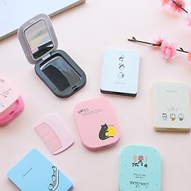 Gương Mini Cầm Tay Hàn Quốc Dễ Thương Cực Tiện Lợi - Tặng Kèm Lược - MP061