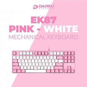 Bàn phím cơ Gaming DAREU EK87 PINK-WHITE (PINK-LED, Blue D switch) - Hàng Chính Hãng