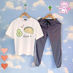 Set áo tay lửng quần thun XÁM XANH unisex, quần dài 2 sọc, 3 sọc, Áo tay lỡ và quần thể thao