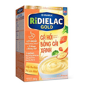 COMBO 2 HỘP BỘT ĂN DẶM RIDIELAC GOLD CÁ HỒI BÔNG CẢI XANH - HỘP GIẤY 200G