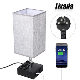 Lixada Pulling Switch Bedside Table Lamp Dual 2.1A USB Charging Ports & Outlet Sockets Black Base and Fabric Lampshade