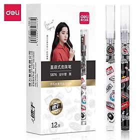 Bút bi nước Deli - 0.5mm - Vỏ Đen/Trắng - 1 chiếc màu ngẫu nhiên - S876