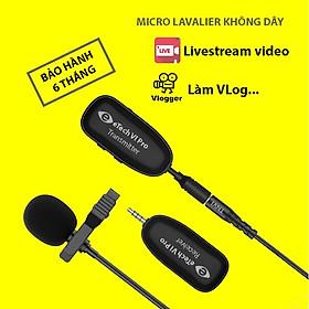Micro cài áo không dây cho điện thoại TNVI - eTech VI Pro, mic live stream , quay video, ghi âm, Vlog Tương thích smartphone, máy ảnh, máy quay, PC, laptop kèm  Giá đỡ  điện thoại để bàn đa năng tiện dụng xoay 270 độ - Hàng chính hãng