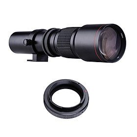 500mm F/8.0-32 Multi Coated Super Telephoto Lens Manual Zoom + T-Mount to EF-Mount Adapter Ring Kit Replacement for