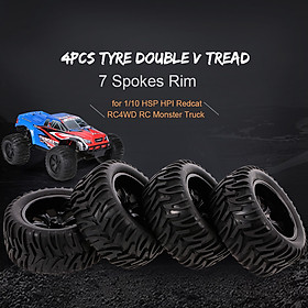 4PCS 1/10 Off-road Tyre Double V Tread Pattern 7 Spokes Rim for 1/10 HSP HPI Redcat RC4WD RC Monster Truck