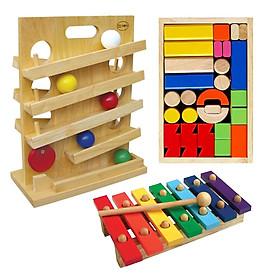 Bộ xếp hình lâu đài + trò chơi lăn banh + đàn mộc cầm bằng gỗ 7 thanh (Combo 3 món đồ chơi gỗ phát triển trí tuệ cho bé)
