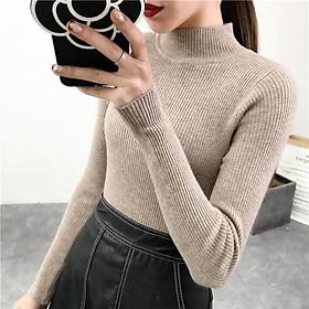 Áo thun dài tay thun gân cổ lọ thiết kế ôm sát tôn dáng Nữ Màu Khaki
