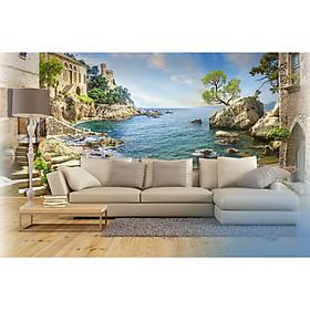 Tranh dán tường cảnh biển - tranh trí phòng khách -phòng ngủ - phòng ăn DD104