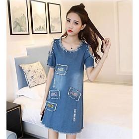 Đầm Jeans Thêu Chữ Cocacola DJ_0572