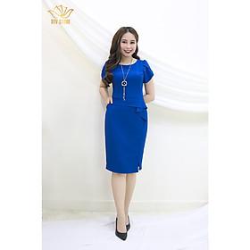 Đầm Thiết kế Đầm xòe Đầm thời trang công sở Đầm trung niên thương hiệu TTV451 xanh coban - Đầm ôm cổ tròn tay cánh tiên CL