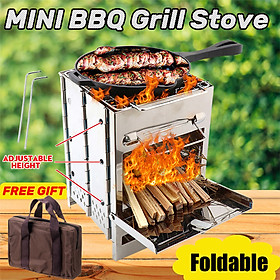 Potable Mini Folding BBQ Stove Outdoor Drawer Grill Stainless Steel Picnic Set