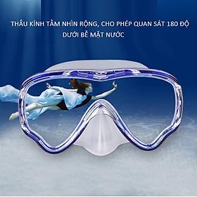 Kính lặn ống thở AMS, mắt kính CƯỜNG LỰC với ống thở van 1 chiều ngăn nước cao cấp - POKI-1