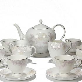 Bộ tách trà Sứ xương 15 món Bone Porcelain 15F (Bình 1.4L, tách 200ml) (Nhiều hoa văn)