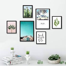 Bộ khung tranh treo tường, treo phòng khách, phòng ngủ hiện đại - Tranh phong cảnh thành phố xanh - Tặng kèm khung tranh và đinh treo tường - TP161
