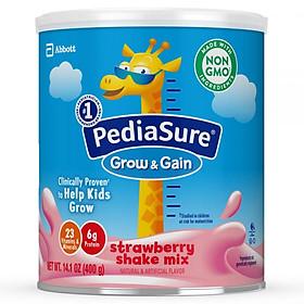 Sữa bột Pediasure Grow and Gain Strawberry Shake Mix 400gr nhập Mỹ - Mẫu mới-0