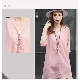 Đầm suông linen tay lỡ cổ V dáng chữ A ArcticHunter, thời trang trẻ, phong cách Hàn