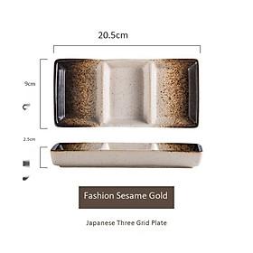 Đĩa đựng sốt chấm bằng sứ Gawin - phong cách Nhật Bản - Khay 3 ngăn, thiết kế tinh tế sang trọng, phù hợp cho nhà hàng, đựng gia vị, trưng bày